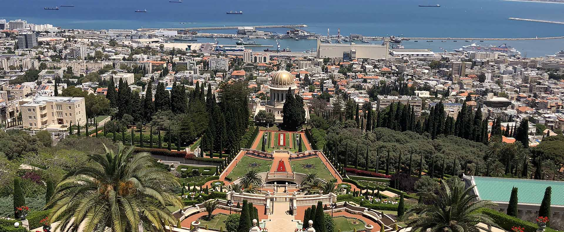 The Baha'i Gardens in Haifa from above