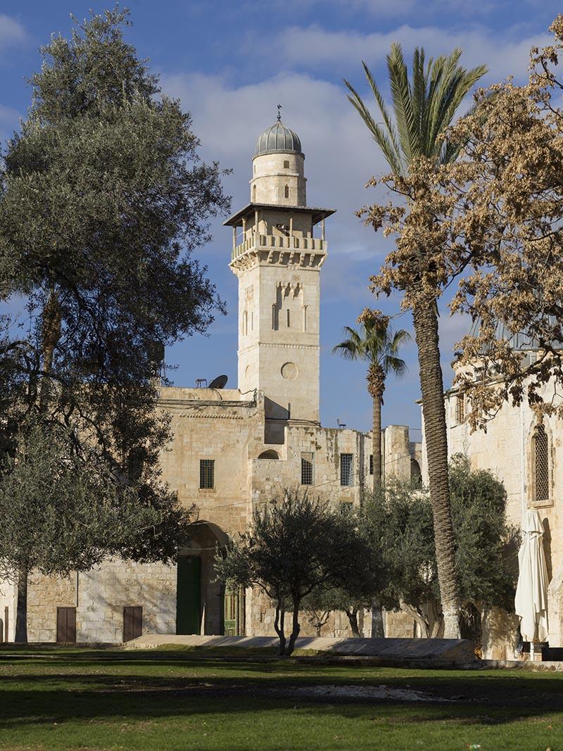 Bab al-Silsila minaret in Al Aqsa Mosque, Temple Mount, Old City, Jerusalem, Israel