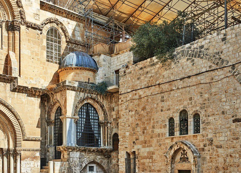 Church of the Holy Sepulchre in Old City. Is the most sacred place for all Christians in the world. Golgotha, Stone of Anointing, Grave